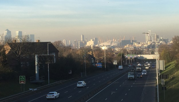 Wednesday afternoon smog over the A102 heading away from the Blackwall Tunnel