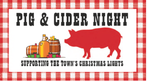 Picture of cider barrels and a pig