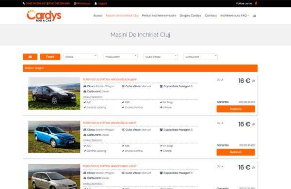 Cardys Rent a Car Cluj - Web Design Cluj - Rezervari masini online