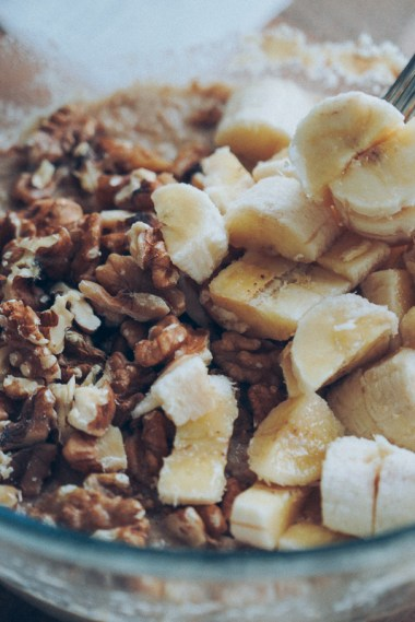 Add chopped bananas and walnuts at the end