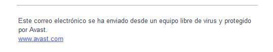 Esta es la firma que Avast Free Antivirus deja en el mail
