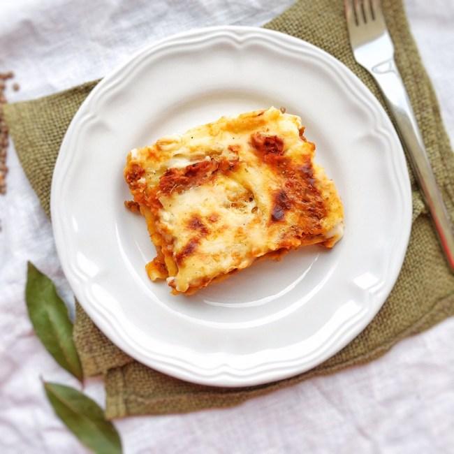 lasagne con ragù di lenticchie, ricetta, vegan, vegetariana, bambin