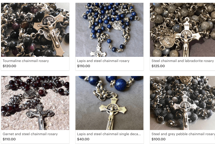 Steel and lapis rosary winner!