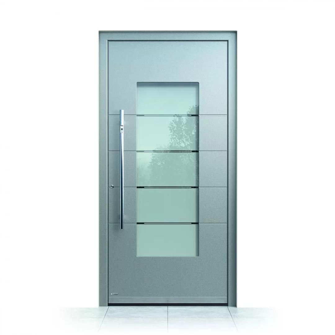 Ușă exterior aluminiu Pirnar Optimum CarbonCore 7471 sticlă motive sablate laminată securizată