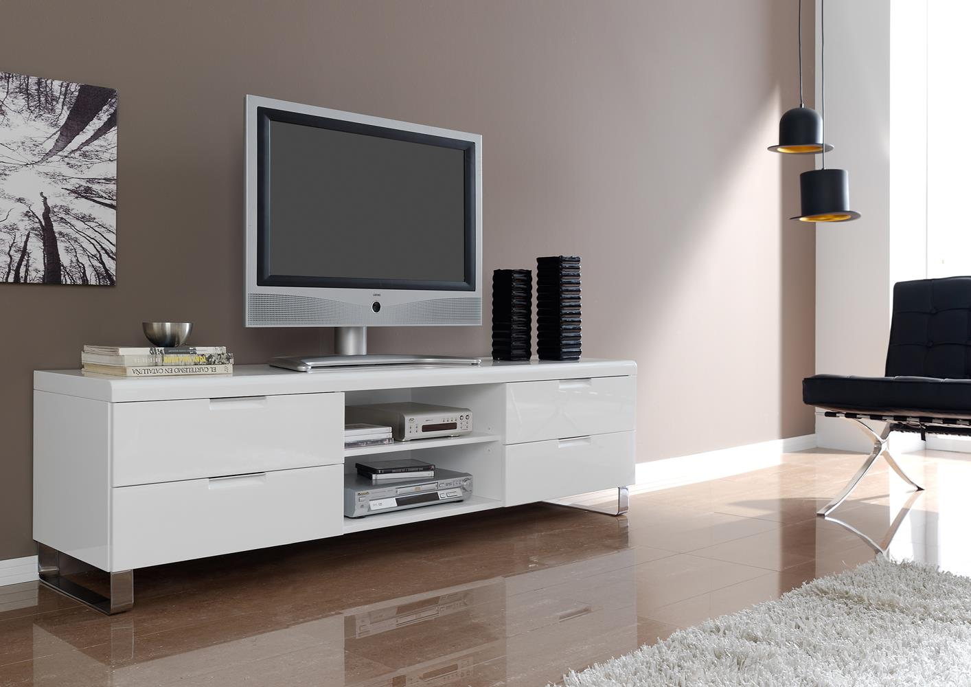 meuble tele contemporain laque blanc pied chrome
