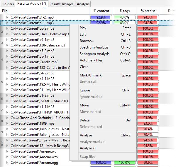 Screenshot: Using context menu