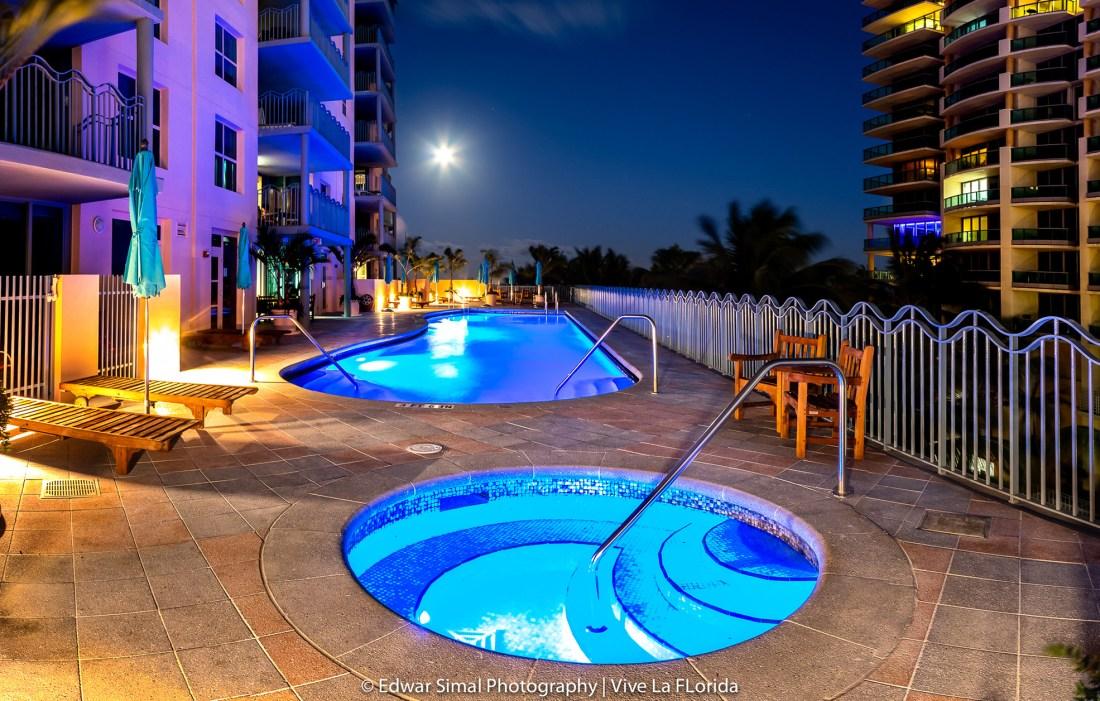 Ocean Drive mother of pearl Swimming Pool at night