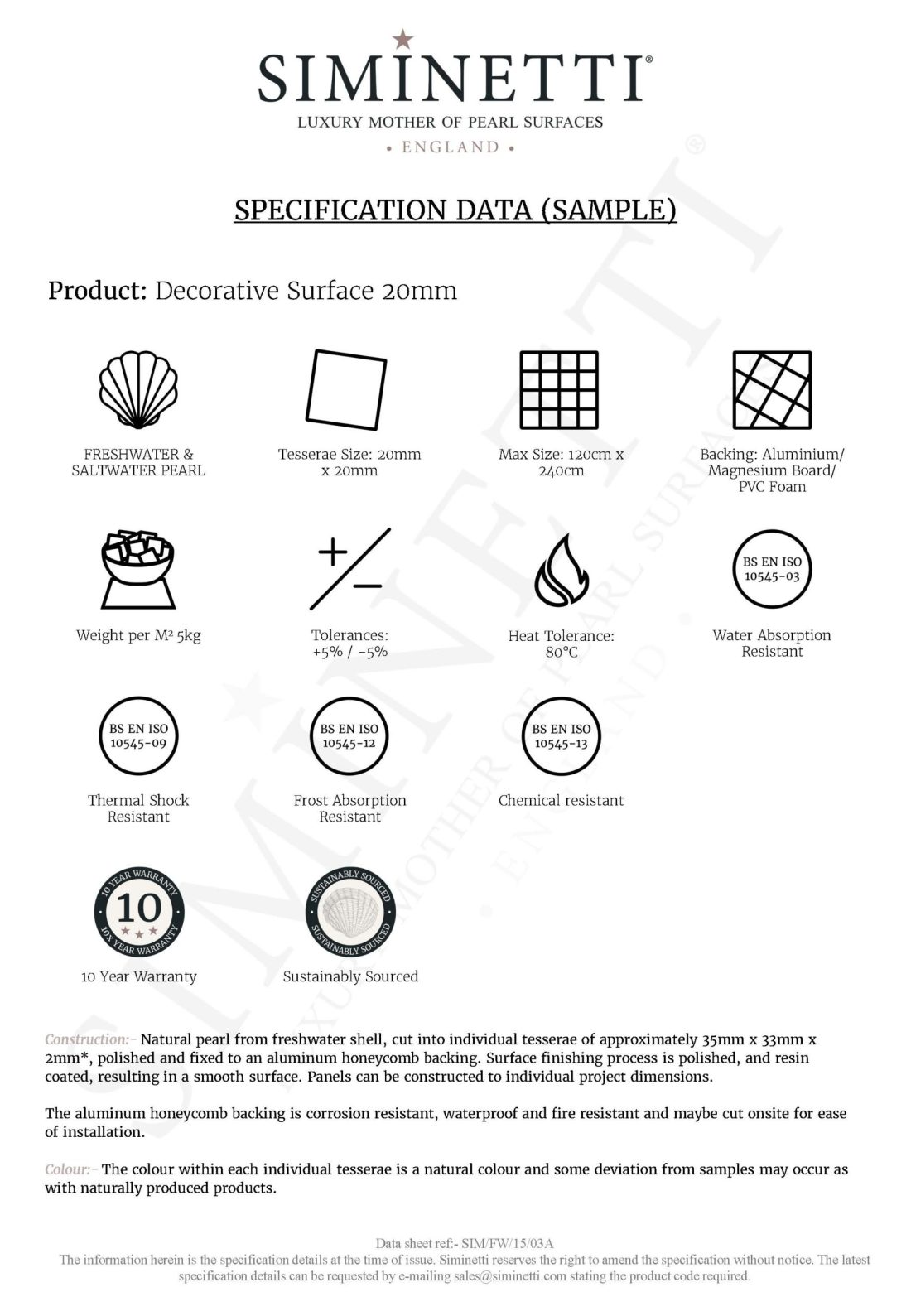Decorative Surfaces Sample Specification