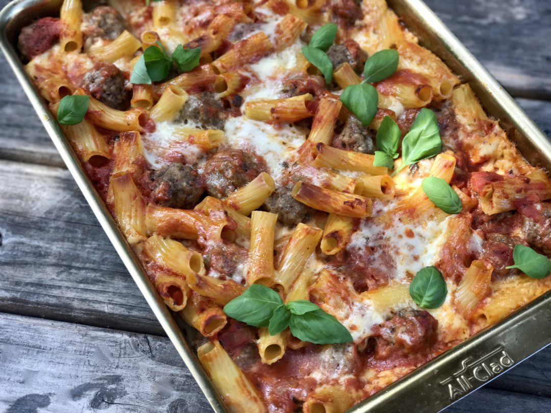 Easiest Dinner Ever. No-Boil Baked Ziti With Bison Meatballs