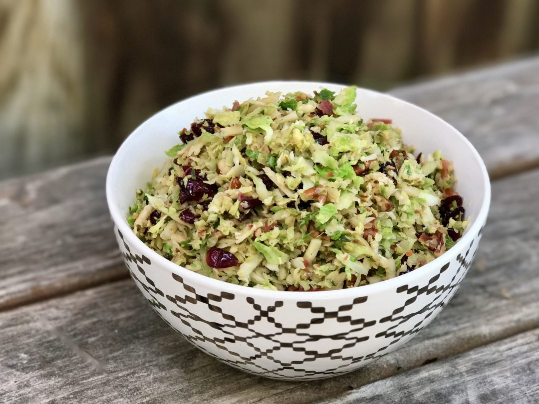Shredded Brussels Sprout With Bacon, Cranberries And Brown Sugar
