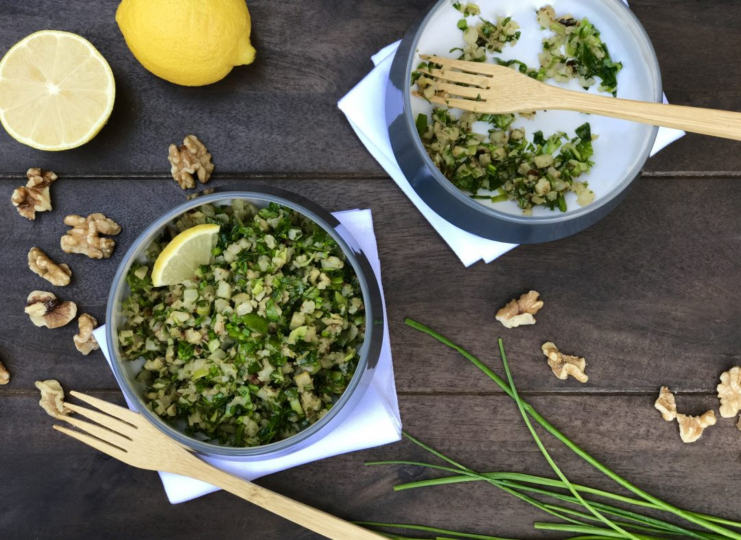 The Perfect Side Dish–Riced Cauliflower With Leeks, Kale And Walnuts