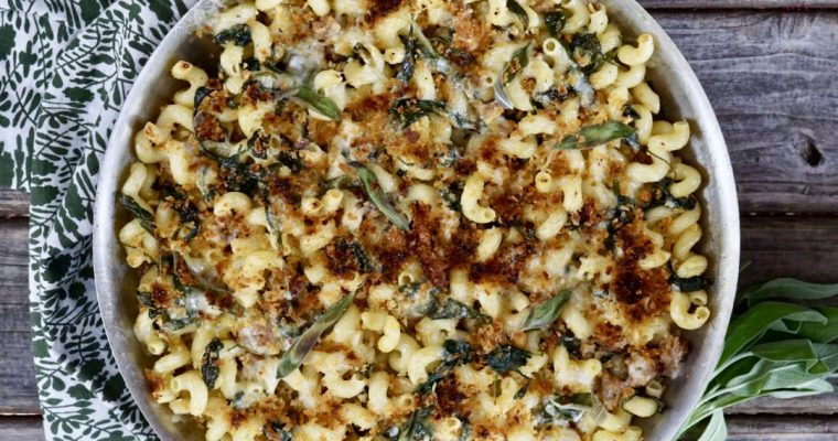 Skillet Baked Pasta With Sausage, Spinach And Sage