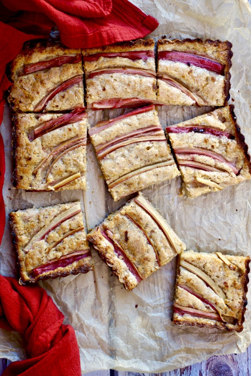 rhubarb-almond snacking cake