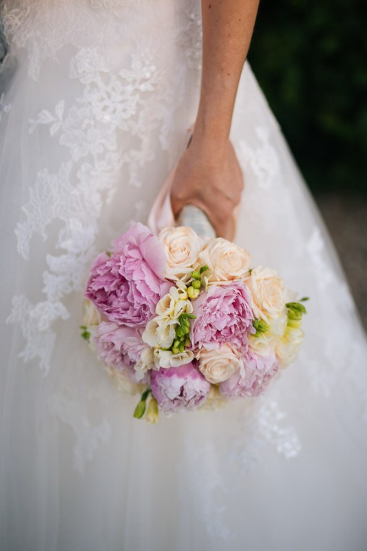 bouquet romantic boho peonie cipria