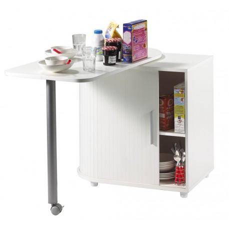 table pivotante et meuble de rangement de cuisine blanc simmob