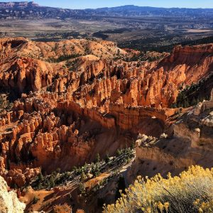 A view toward the hoodoos of Bryce Canyon, Utah.