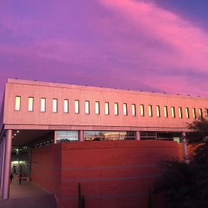 The University of Arizona's McClelland Hall at sunset.