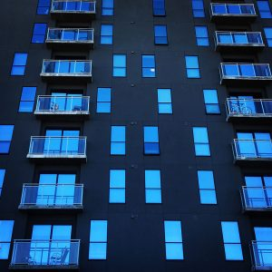 Windows reflecting the sky at highrise student housing near the University of Arizona in Tucson.