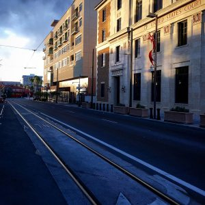 Streetcar tracks in downtown Tucson, Arizona.