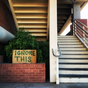 Whatever you do, ignore this temporary sign at the UA's Park Avenue Garage.