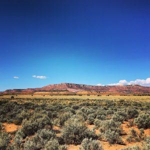 Sagebrush and redrock views driving across southern Utah.