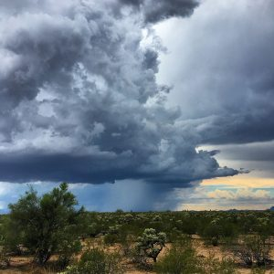 Summer monsoon storm moves across the Tucson valley.
