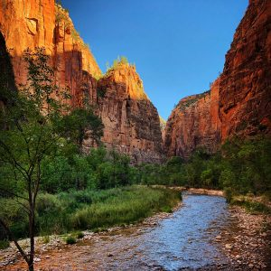 The Virgin River and the Narrows at Zion National Park.