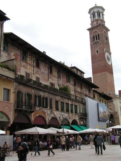 Torre dei Lamberti from Piazza del Erbe, Verona, Italy