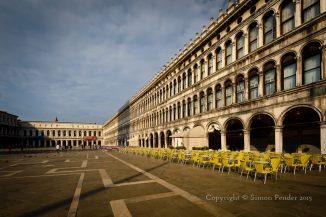 Empty cafe tables, St Mark's Square, Venice