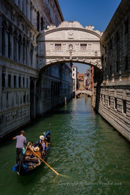 Bridge of Sighs, Venice, with passing gondola