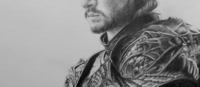 """Jon Targaryen"" <br/> 40 x 50 cm <br/> Crayons gris sur fond blanc"