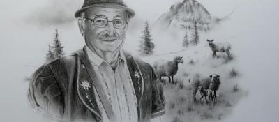 Armaillis et ses moutons, commande privée <br/> 40 x 50 cm <br/> Crayons gris sur fond blanc