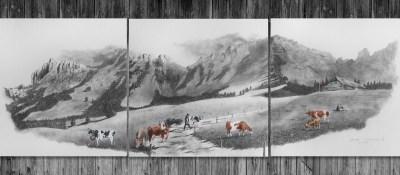 """""""La Vallée du Petit Mont"""" <br/> 3 x 30 x 30 cm <br/> Reproduction #/38 <br/> 350 CHF"""