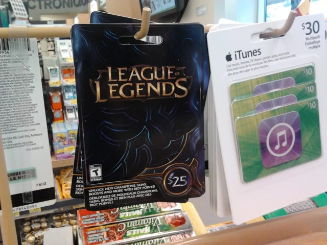 League of Legends, carte-cadeau