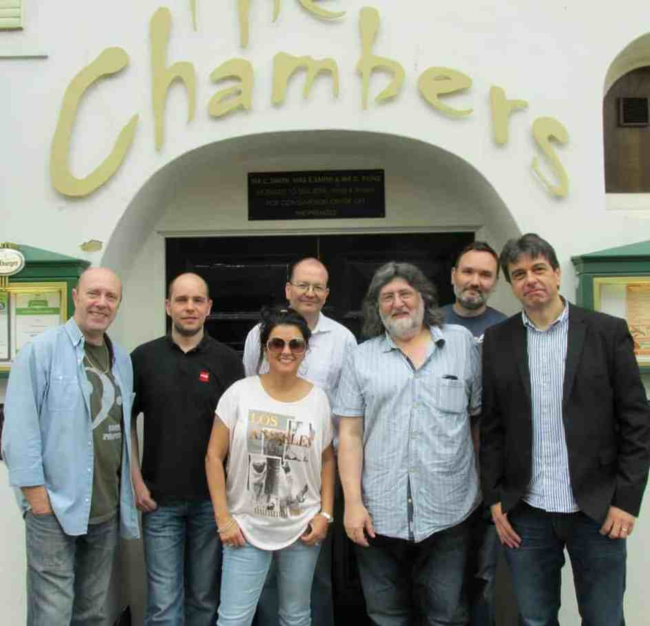 Malaya Blue and Band outside The Chambers, Folkstone.  L to R: Trev Turley (bass), Simon Dring, Malaya Blue, Phil Marshall (sax), Steve Yourglivch (manager), Andy walker (guitar), Andy Cooper (hammond)