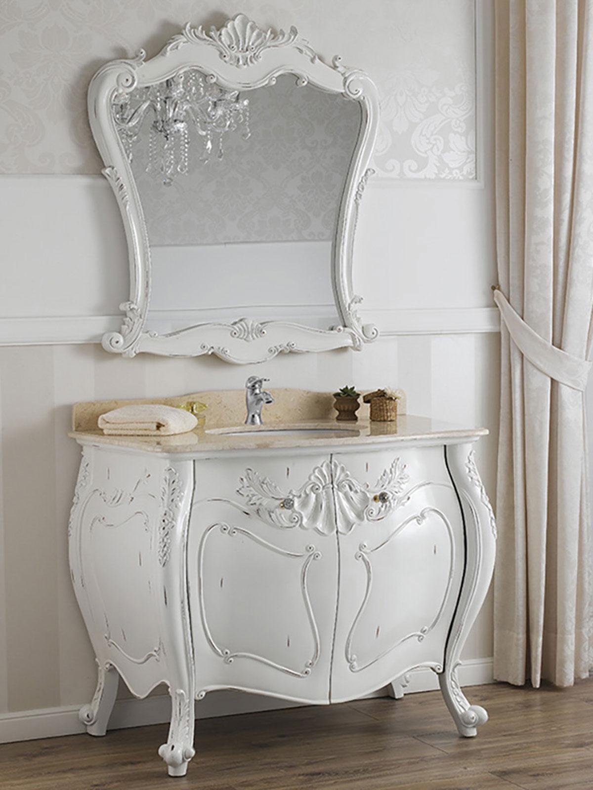 details sur meuble salle de bain avec miroir anderson style shabby chic bombe blanc vieilli