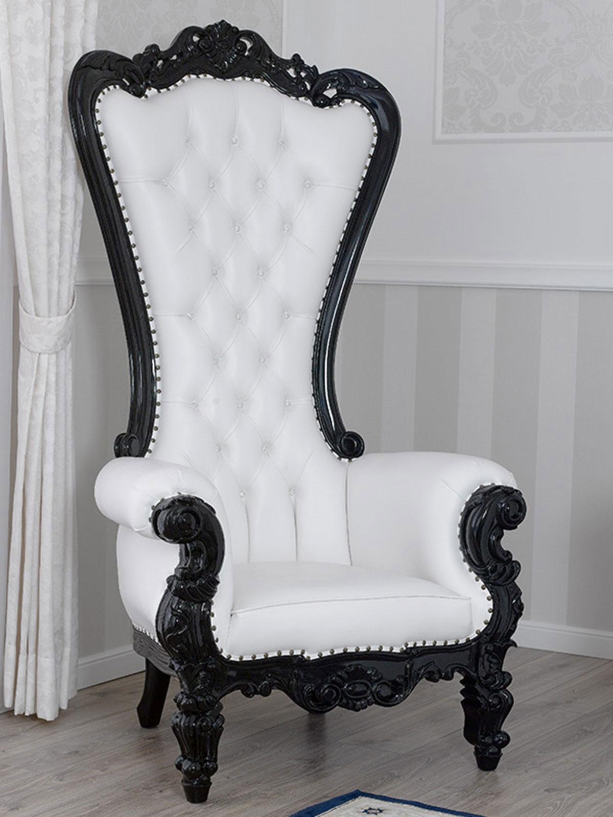details sur fauteuil regina style baroque dark trone noir laque similicuir blanc boutons cry