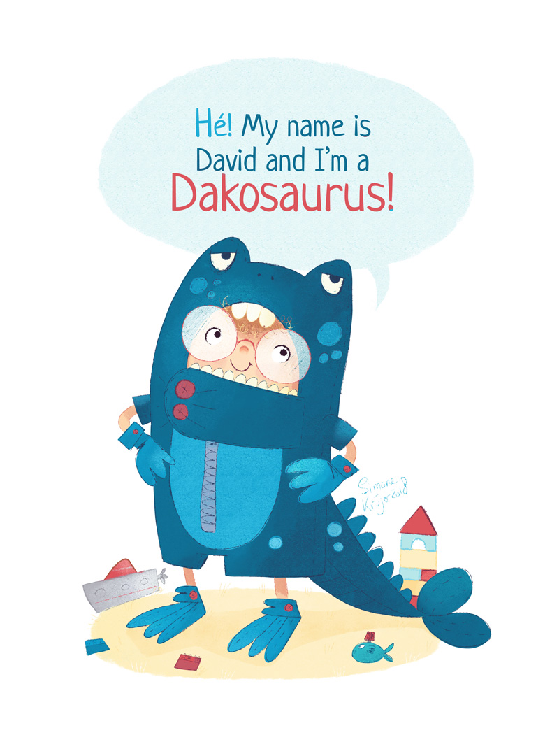 Boy is dressing up as the dinosaur Dakosaurus