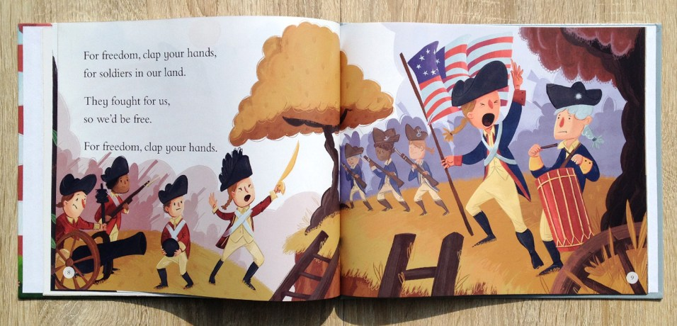 The book tells a bit about the history of the USA and this spread shows Soldiers from the Revolutionary War.