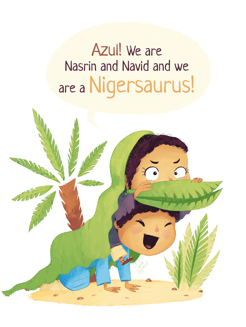 Brother and Sister are dressing up as the dinosaur Nigersaurus