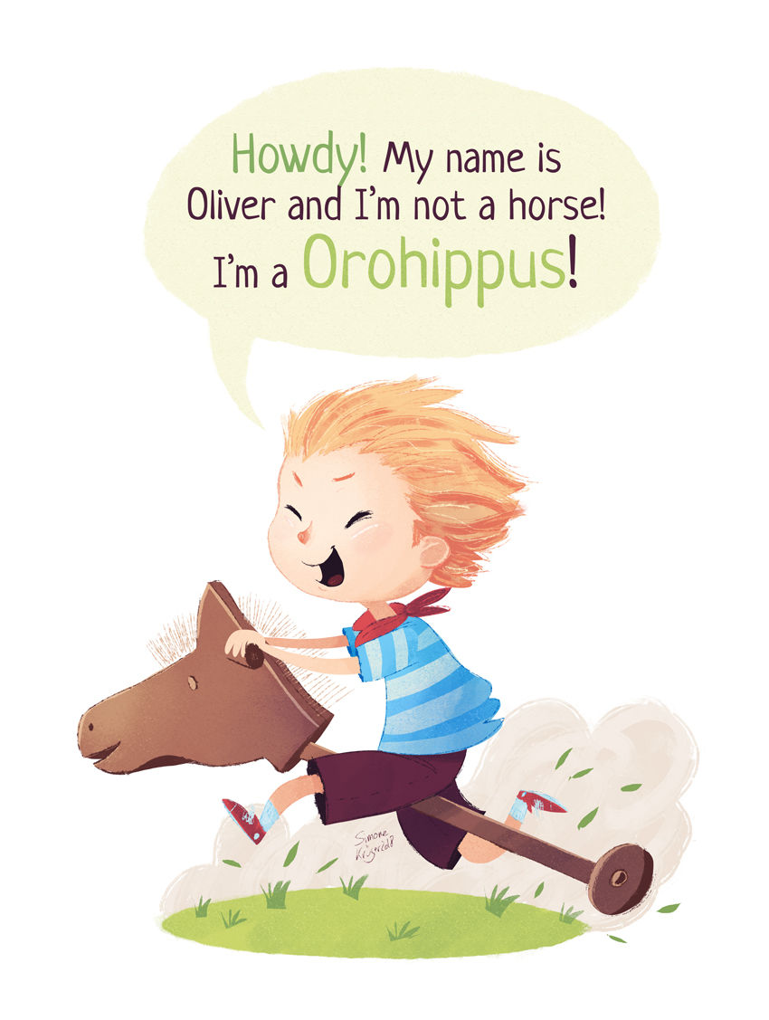 Boy is dressing up as the dinosaur Orohippus