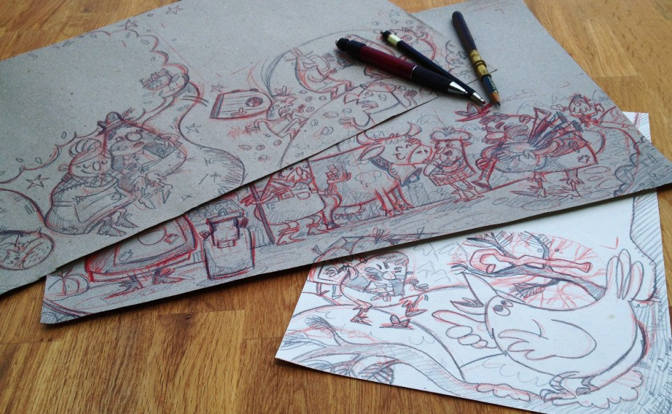 "Sketches I made for the three pages of the whimsical story ""Mr. and Mrs. Vinegar"""