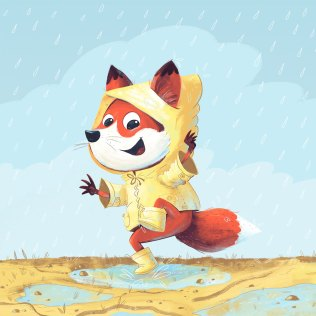 Fox Kid having fun at a puddle