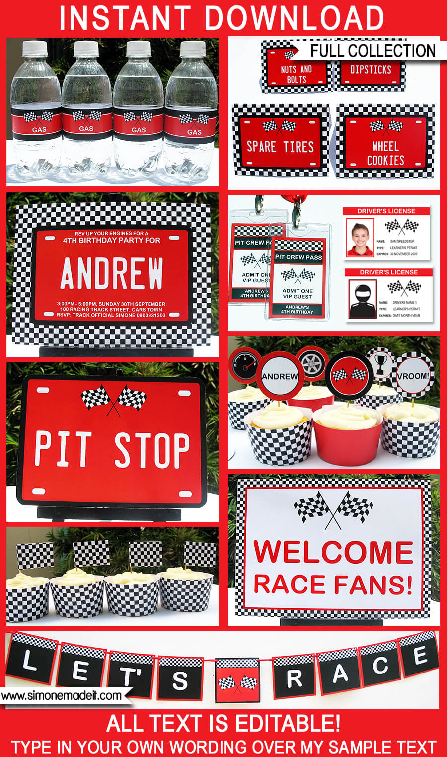 race car party printables invitations decorations red