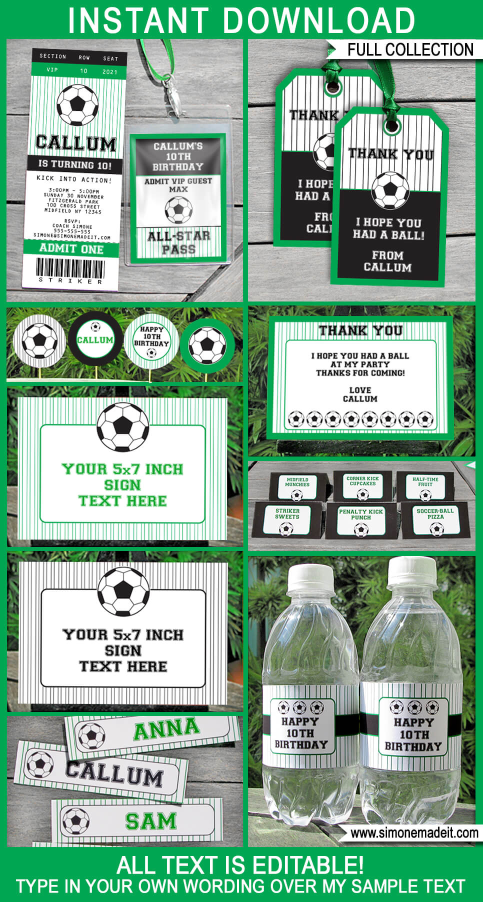 soccer party printables invitations decorations