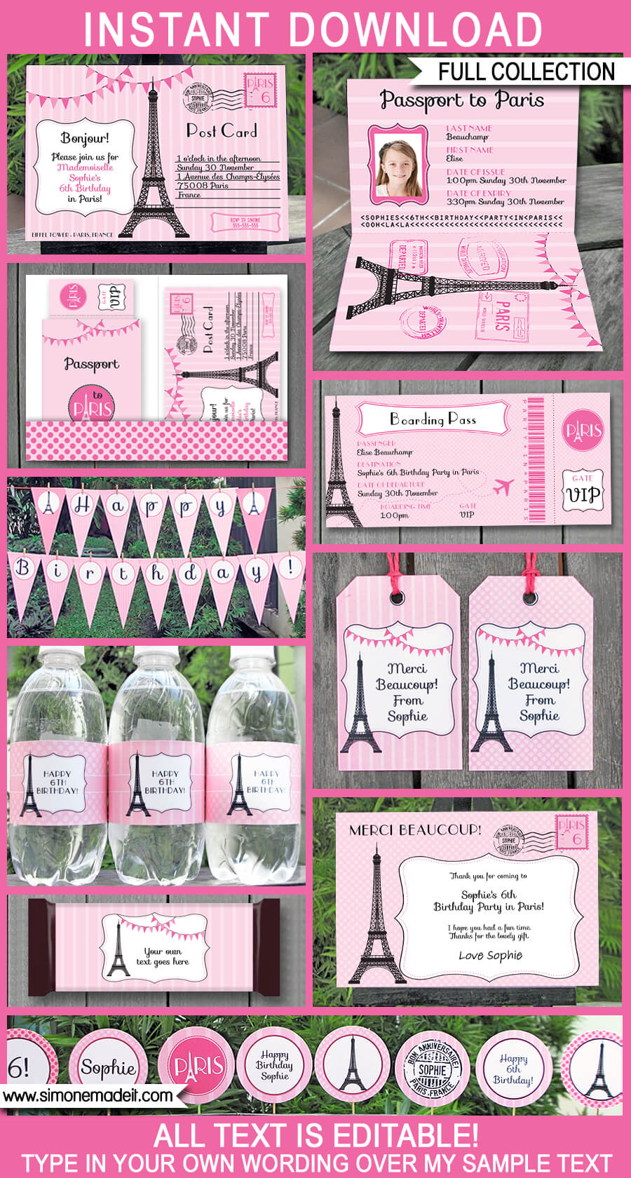 paris party printables invitations decorations pink