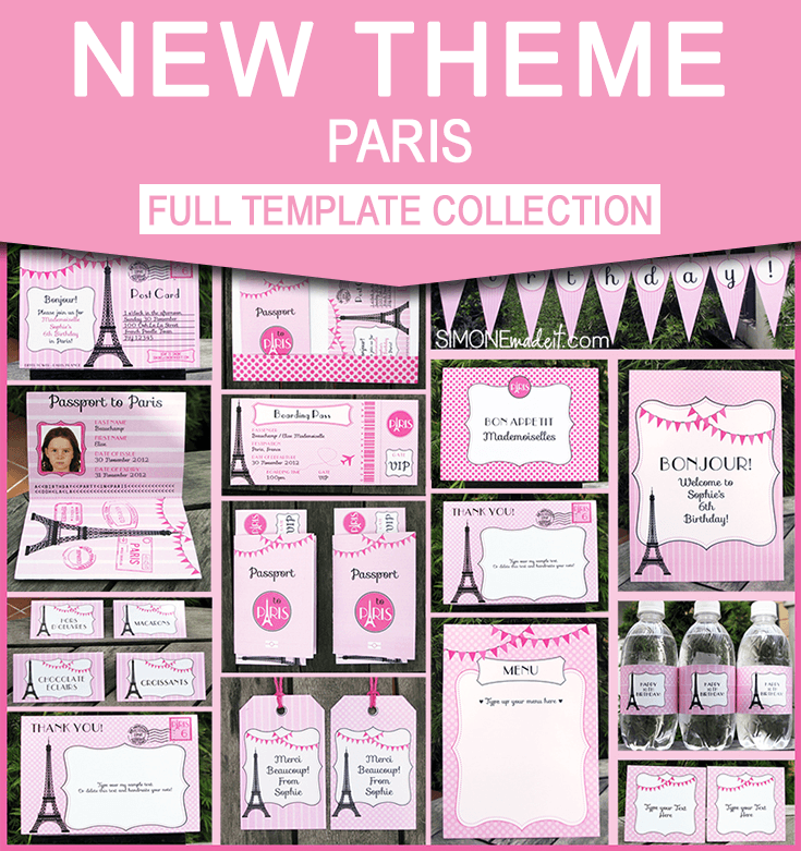 Birthday Party In Paris Invitations Printable Collection