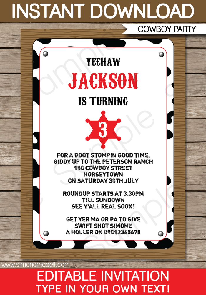 cowboy party invitations template