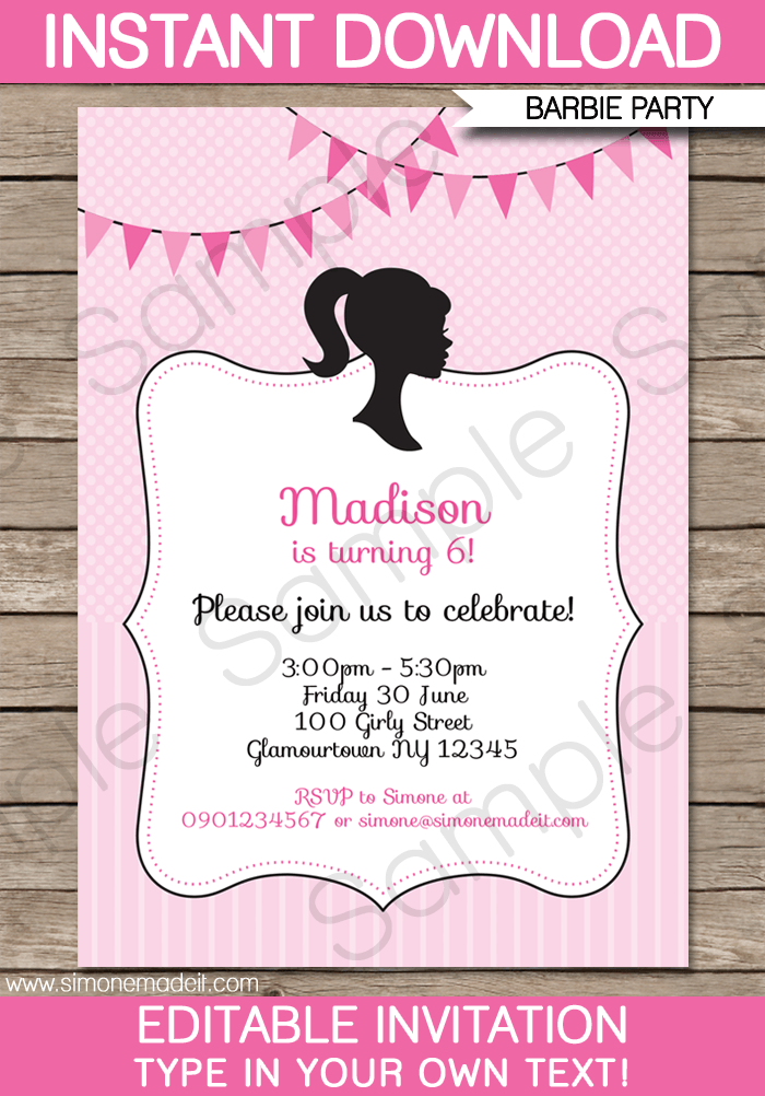 barbie party invitations template