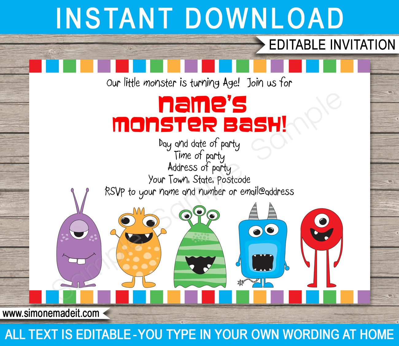 monster party invitations template